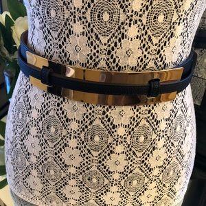 BCBG leather belt with gold hardware